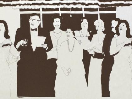 Beatriz González. Decoración de interiores, 1981. Tinta sobre lienzo, 220 x 600 cm. Colección Malba.