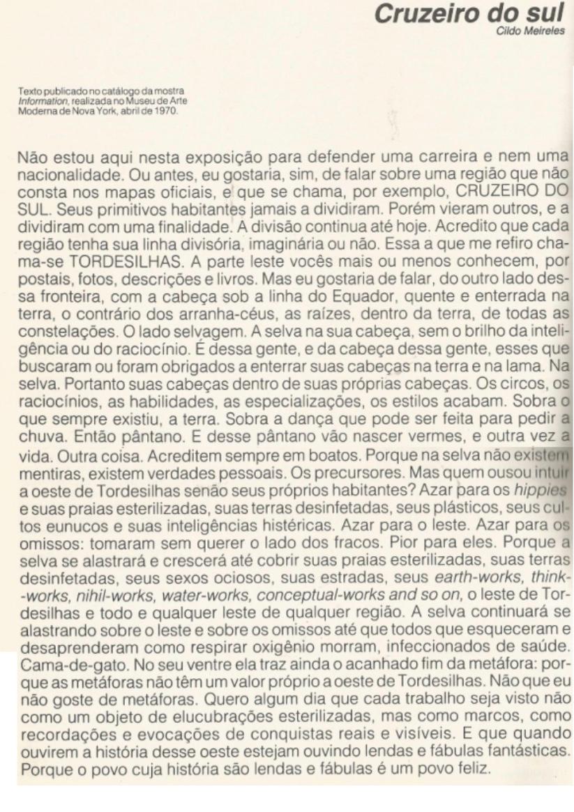 """Texto de Cildo Meireles en portugués, con el título """"Cruz del Sur""""."""